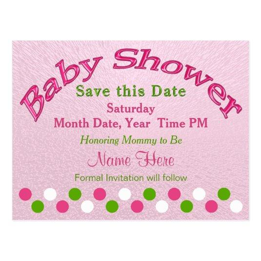 Pink and Green Baby Shower  Cards