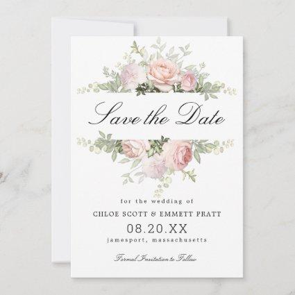 Pink and White Floral Wedding Save The Date