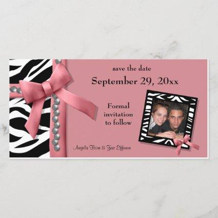 Pink And White Zebra Gems Save The Date Cards