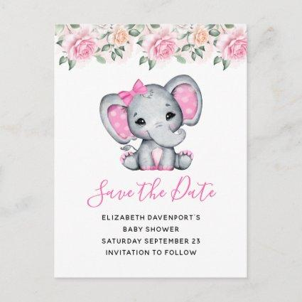 Pink Baby Elephant and Roses Border Save the Date Invitation