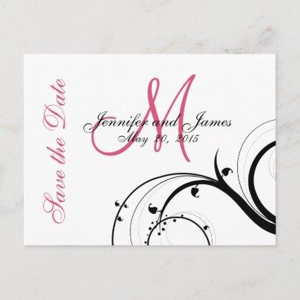 Pink, Black, White Swirls Save the Date Cards