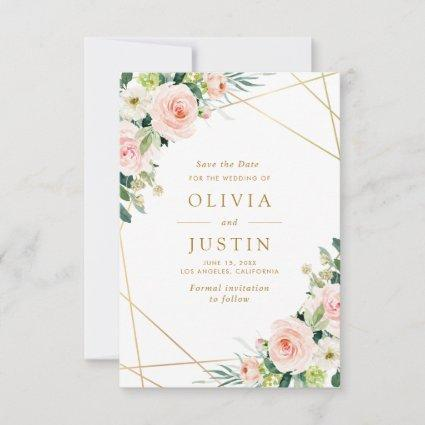 pink blush floral geometric save the date card