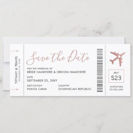 Pink Boarding Pass Plane Ticket Save the Date Announcement