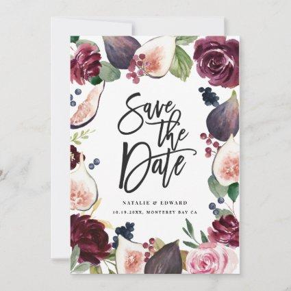 Pink, burgundy and fig floral photo save the date