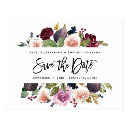 Pink, burgundy + fig floral save the date mustard