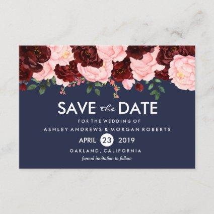 Pink Burgundy Flowers Navy Wedding Save The Date