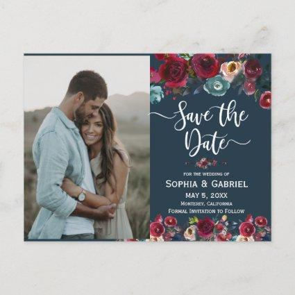 Pink Burgundy Navy Floral Save the Date Photo Announcement