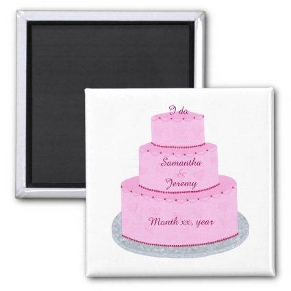 Pink Cake Hearts Personalized Save date Magnets