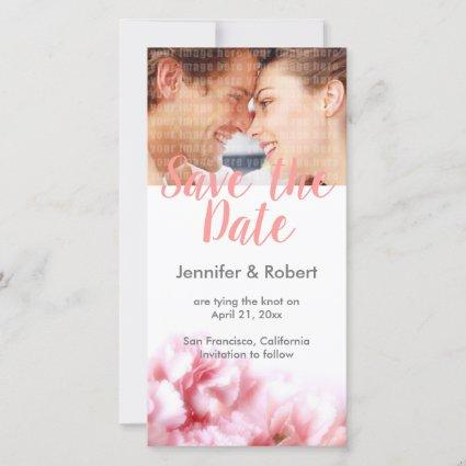 Pink Carnations Save the Date Photo Card