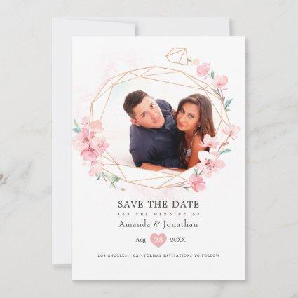 Pink Cherry Blossom Spring Wedding Photo Save The Date