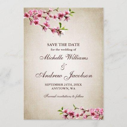 Pink Cherry Blossoms Tan Wedding Save the Date