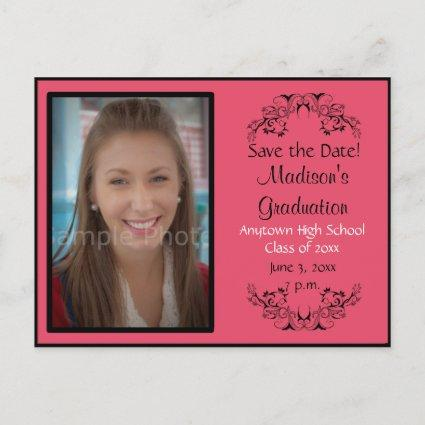 Pink Custom Photo Graduation Save the Date Cards
