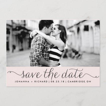Pink Dainty Script Save the Date Announcement