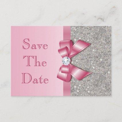 Pink Faux Bow & Diamonds Save The Date