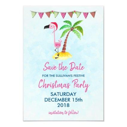 Pink Flamingo in a Santa Hat | Party Save The Date Invitation