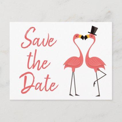 Pink Flamingo Save The Date Engagement Wedding Announcements Cards