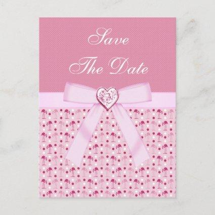 Pink Flamingos Save The Date Wedding Announcements Cards