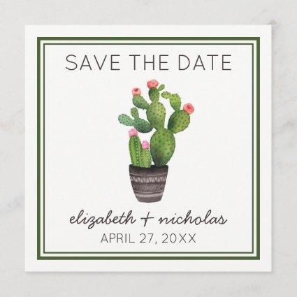 Pink Floral Cactus Save The Date