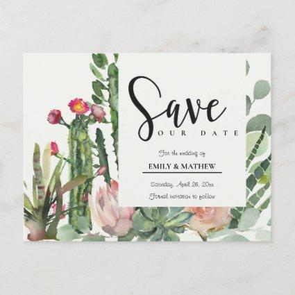 PINK FLORAL DESERT CACTI FOLIAGE SAVE THE DATE ANNOUNCEMENT