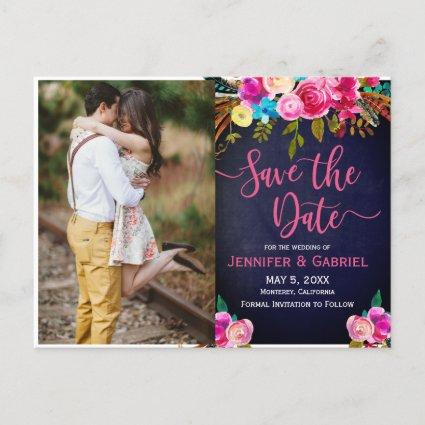 Pink Floral Handwritten | Blue Photo Save the Date Announcement