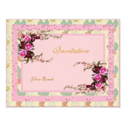 Pink Floral Retro Invitation