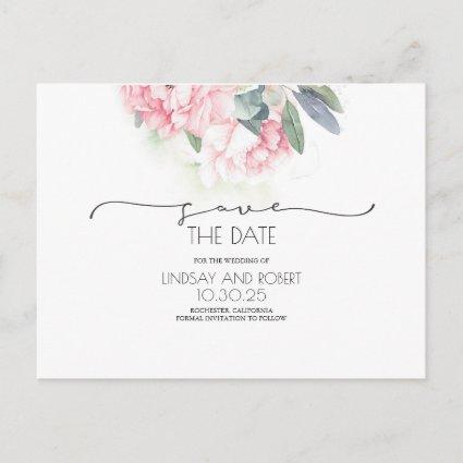 Pink Floral Soft Vintage Save the Date Announcement