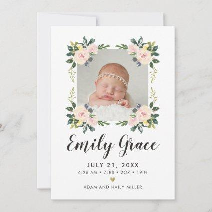 Pink Floral Watercolor Photo Birth Announcement