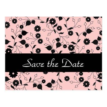 Pink Floral Wedding Save the Date Announcements Cards