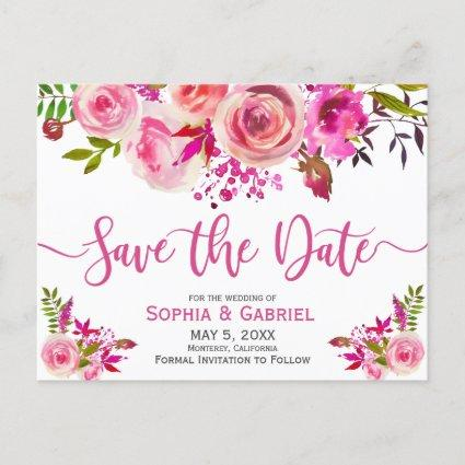 Pink Fuchsia Rose Botanical Floral  Save the Date Announcement