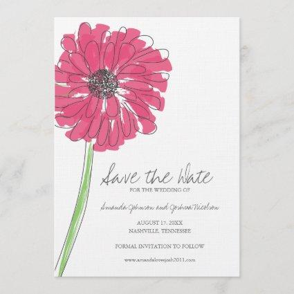 Pink Gerber Daisy Save the Date