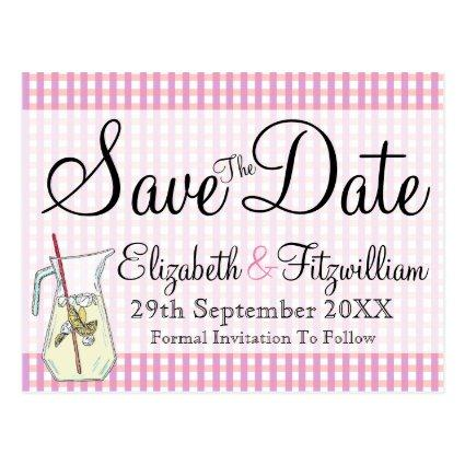 Pink Gingham Lemonade Save the Date Cards