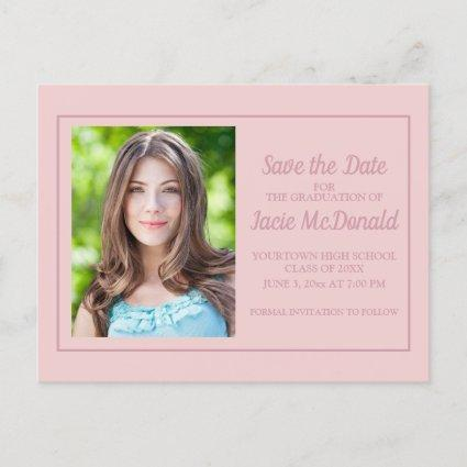 Pink Graduation Save the Date Announcement