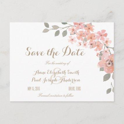 Pink & Gray floral Save the Date Announcement