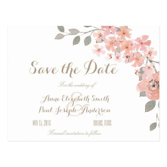 Pink & Gray floral Save the Date Cards