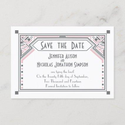 Pink - Grey Gatsby Art Deco Wedding Save the Date