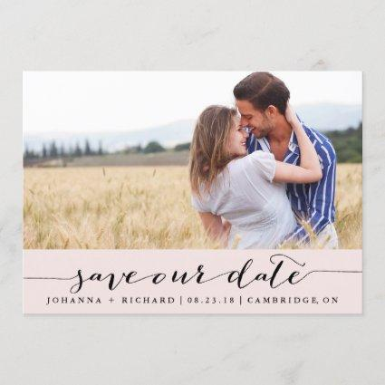 Pink Handwritten Script Save the Date Announcements