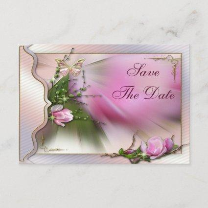 Pink Magnolia Butterfly Sparkle Save the Date