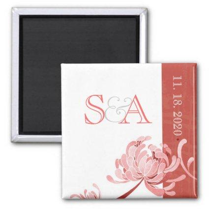 Pink Monotone Floral Wedding Save the Date Magnet