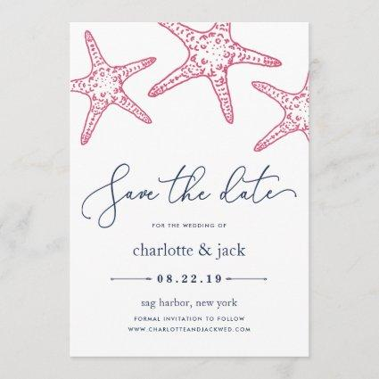 Pink & Navy Starfish Save the Date Card