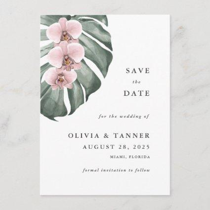 Pink Orchids Tropical Paradise Save the Date Invitation