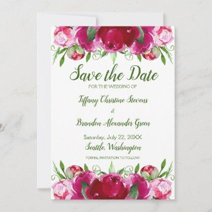 Pink Peonies Green Save The Date