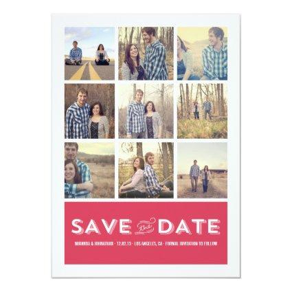 Pink Photo Grid Save The Date Announcements