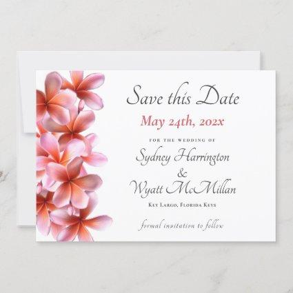 Pink Plumeria Wedding Save-the-Date White  Announcement