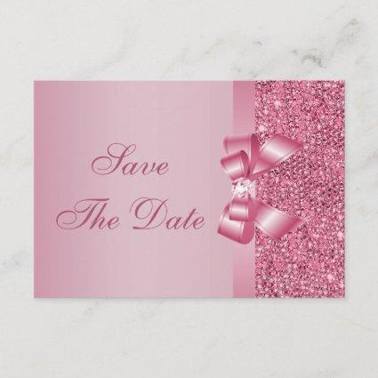 Pink Printed Sequins Bow & Diamond Save the Date