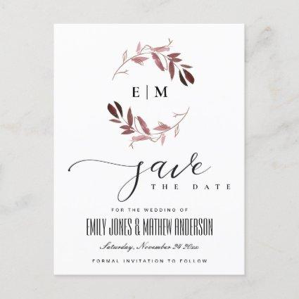 PINK PURPLE FAUNA WATERCOLOR WREATH SAVE THE DATE ANNOUNCEMENT