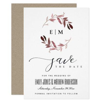 PINK PURPLE FAUNA WATERCOLOR WREATH SAVE THE DATE INVITATION