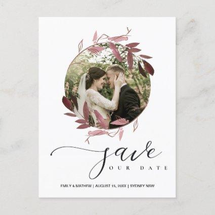 PINK PURPLE FOLIAGE WREATH SAVE THE DATE PHOTO ANNOUNCEMENT