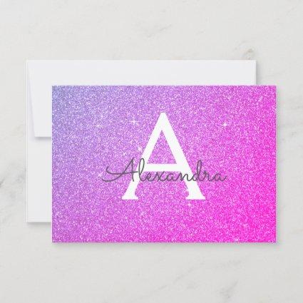 Pink Purple Sparkle Glitter Sweet 16 Save the Date