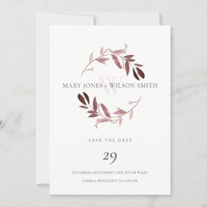 PINK ROSE GOLD FOLIAGE WREATH SAVE THE DATE CARD