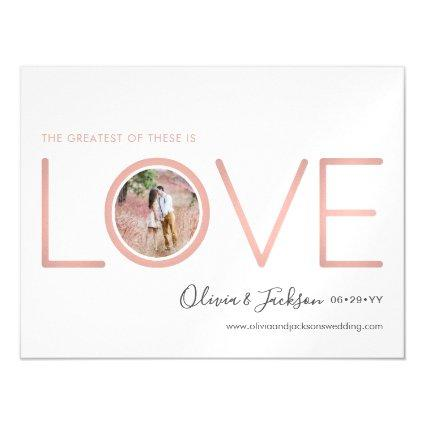 Pink Rose Gold Love Photo Wedding Save the Date Magnetic Invitation